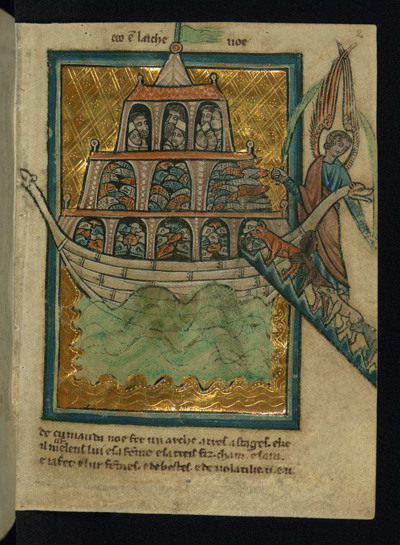 This scene of Noah's Ark is a leaf from a manuscript of Bible pictures by W. de Brailes, a 13th-century English artist. High-resolution images of medieval manuscripts at the Walters Art Museum will have a second home in the Stanford Digital Repository, which will provide digital handling tools that will allow scholars to analyze the manuscripts and compare them with manuscripts elsewhere. (Photo: The Walters Art Museum, Baltimore)