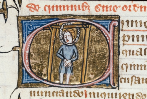 Detail of a historiated initial 'C'(rimen) of a man hanging from gallows. Photo courtesy British Library
