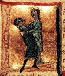 13th-century Italian manuscript miniature of Jaufre Rudel dying in the arms of Hodierna of Tripoli, Bibliotheque Nationale Française, Manuscrits Français 854, fol. 121