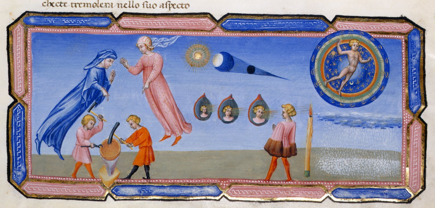 Detail of a miniature of Beatrice explaining some scientific theories to Dante, including the appearance of the moon.  Photo courtesy British Library