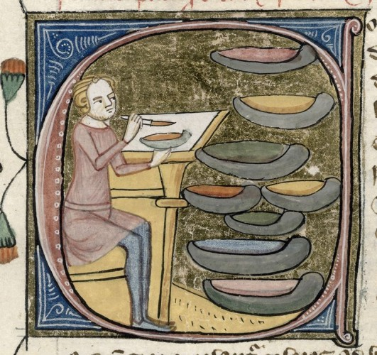 Medieval artist and his paints