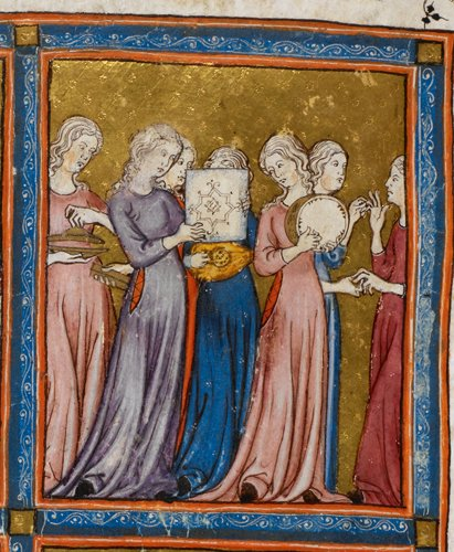 Jewish women in Haggadah for Passover (the 'Golden Haggadah'')
