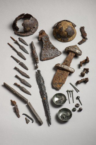 Swords, silver buttons and a balance scale all signalled that archaeologists had found an important trading site in Steinkjer, north of Trondheim, Norway. Photo: Åge Hojem, NTNU University Museum