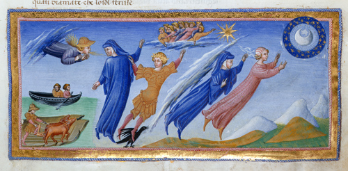 Detail of miniature of Dante and Beatrice visiting the inhabitants of the heaven of the moon.