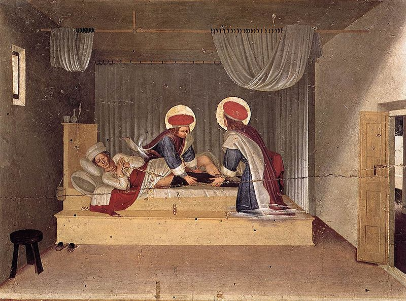 The Healing of Justinian by Saint Cosmas and Saint Damian - by Fra Angelico
