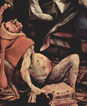 Painting by Matthias Grünewald of a patient suffering from advanced ergotism from approximately 1512–16 AD