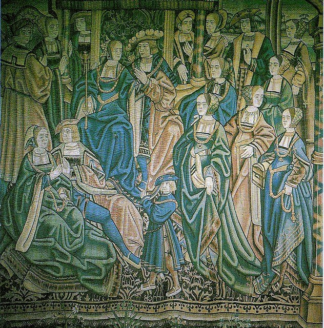 A tapestry in the Flemish style of Catherine of Aragon and her husband Arthur Tudor, Prince of Wales