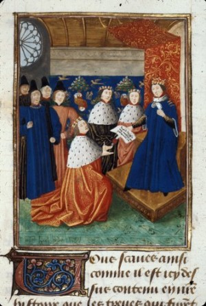 Detail of a miniature of Richard II giving the Duchy of Aquitaine to the Duke of Lancaster.