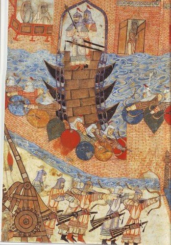 Persian painting (14th century) of Hülegü's army besieging a city. Note use of the siege engine