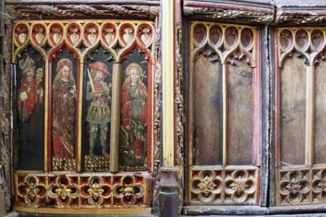 Torbryan Holy Trinity Church Panels before damage - photo courtesy Churches Conservation Trust
