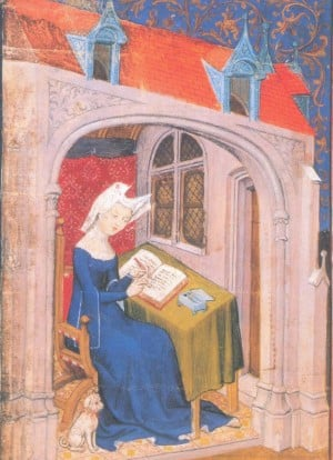 Christine de Pizan writing, with her dog by her feet