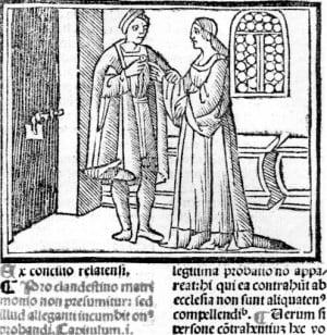 Clandestine marriage. Decretales  of Gregory IX
