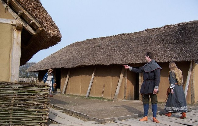 Reconstructed Viking houses at Hedeby (Haithabu) in Northern Germany.
