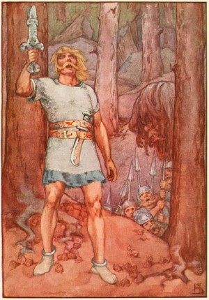 Beowulf depicted in a 1915 book