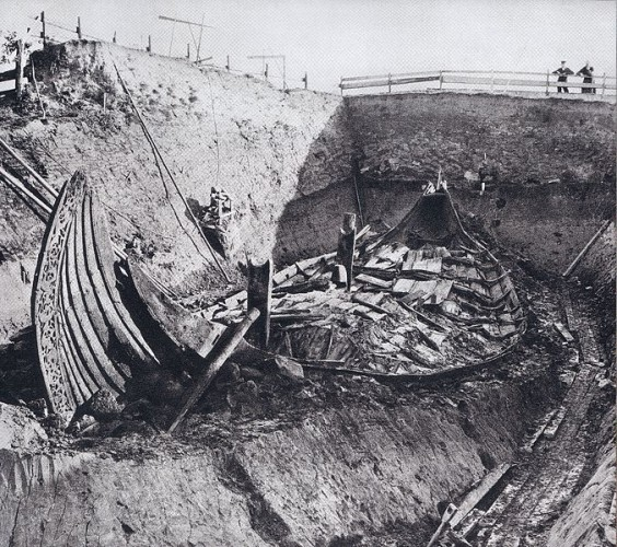 The Oseberg ship at the archeological site.