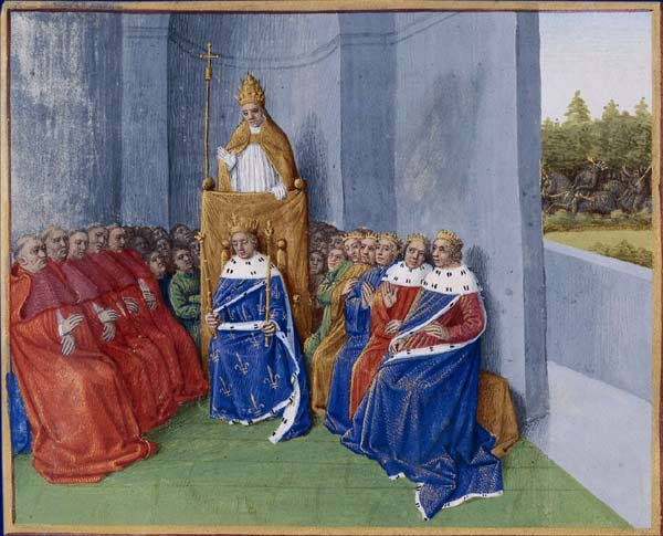 Pope Urban II preaching the First Crusade in the presence of Philip I before the assembly.