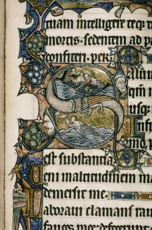 An illustration depicting the 'wolf, goat, cabbage' puzzle, in the Ormesby Psalter (Oxford,  Bodleian Library MS Douce 366, fol. 89r ).