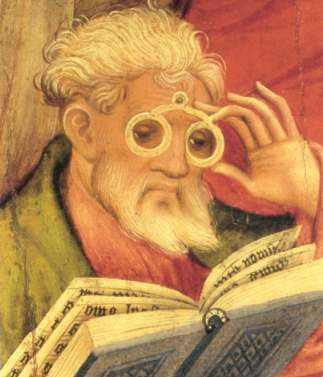 medieval eyeglasses -The 'Glasses Apostle' by Conrad von Soest (1403)