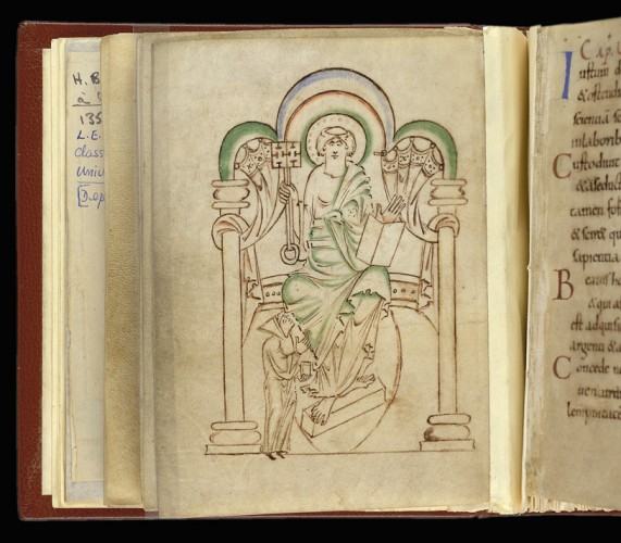 Miniature of St. Peter Enthroned, In 'Aelfwine's Prayerbook' - image courtesy British Library