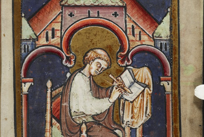 Miniature of a scribe writing at a desk (thought to be Bede), from the preface to Bede's prose Life of St Cuthbert.