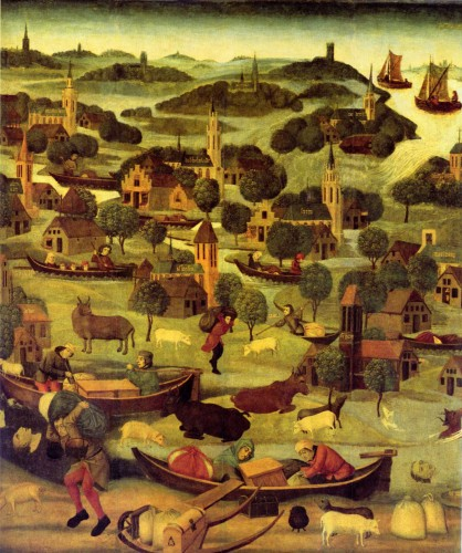 A near-contemporary painting depicting the St. Elizabeth's flood