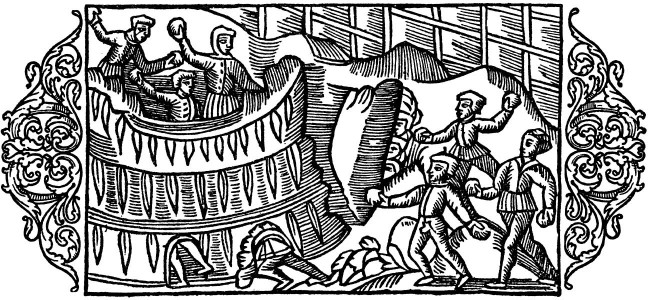 Olaus Magnus Medieval Snowball fight