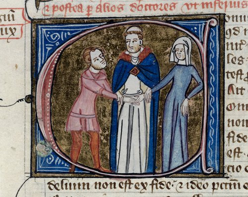 Detail of a historiated initial 'C'(oniugium) of a priest joining hands of a man and a woman.  Royal 6.E.vi,  f. 375 detail