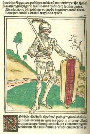 Janos Hunyadi - hand-colored woodcut in Johannes de Thurocz's Chronicle Chronica Hungarorum, Brno, 1488.