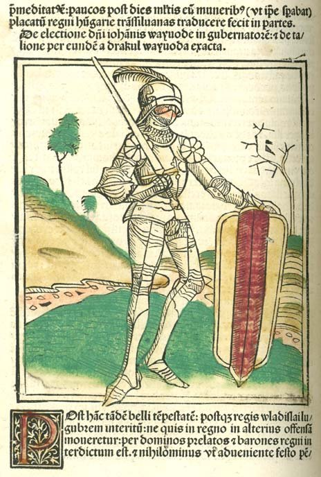 Janos Hunyadi - hand-colored woodcut in Johannes de Thurocz's Chronicle Chronica Hungarorum, Brno, 1488.