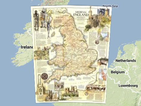 Medieval England map on Google Maps