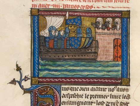 Detail of a miniature of the king of France and his crusading army on a ship, approaching a fortress manned by Saracens.