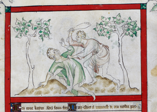 Detail of a miniature of Cain killing Abel