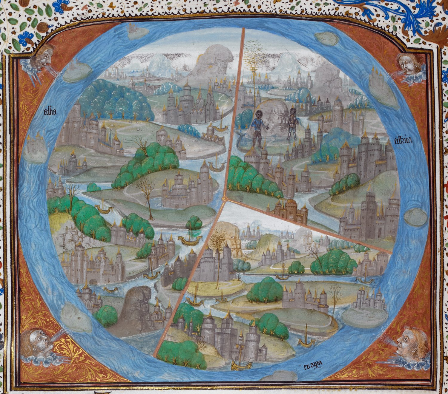 Medieval World Detail Of A Miniature Of A Map Of The World Divided