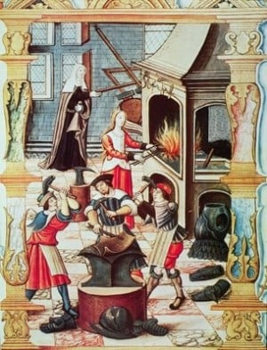 Chants royaux sur la conception. The three men are doming over an anvil, while the woman is raising using a stake.