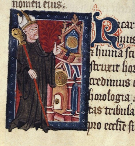 Richard of Wallingford pointing to a clock, his gift to St Albans Abbey