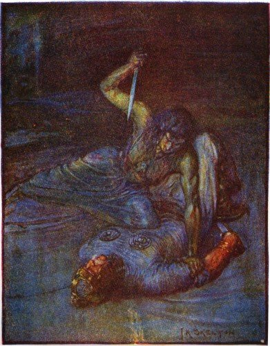"An illustration of Grendel's mother by J.R. Skelton from Stories of Beowulf (1908) described as a ""water witch"" trying to stab Beowulf."