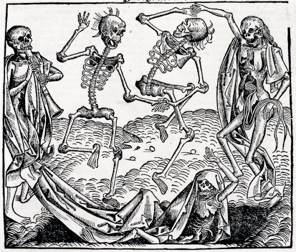 Dance of Death in the German printed edition, folio CCLXI recto from Hartman Schedel's Chronicle of the World (Nuremberg, 1493)