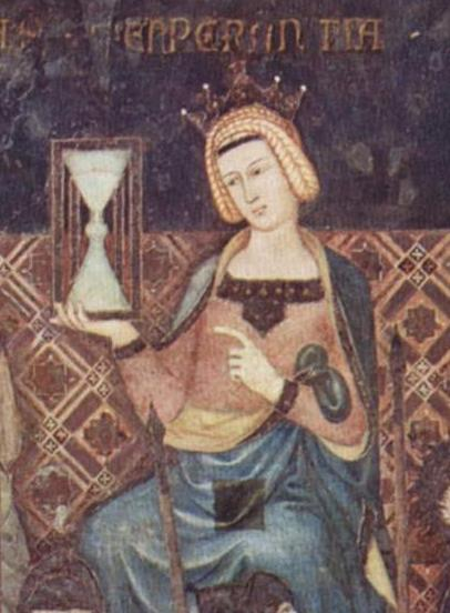 Hourglass - Temperance bearing an hourglass; detail Lorenzetti's Allegory of Good Government, 1338