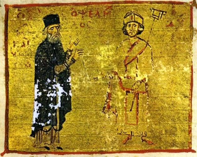 Michael Psellos (left) with his student, Byzantine Emperor Michael VII Doukas. Codex 234, f. 245a, Mount Athos, Pantokrator Monastery/ Κώδ. 234, φ. 254α, Άγιον Όρος, Μονή Παντοκράτορος