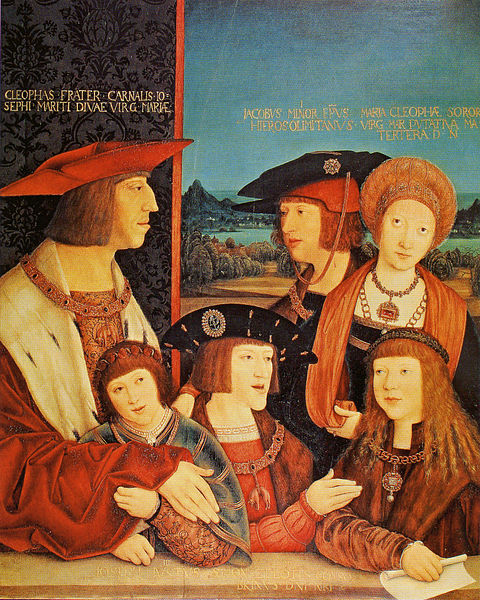 Emperor Maximilian I with his son Philip the Fair, his wife Mary of Burgundy, his grandsons Ferdinand I and Charles V, and Louis II of Hungary (husband of his granddaughter Mary of Austria).