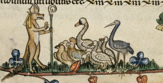 Reynard the Fox, wearing a bishop's mitre and carrying a crozier, preaching to birds, including falcons, chickens, geese, a stork and a swan.  From British Library Royal 10 E IV
