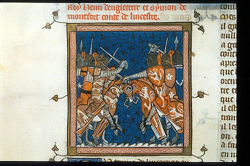 Detail of a miniature of a battle during the Civil War in England.  -   Click on the image for the maximum size view. Royal 16 G VI   f. 427v  British Library