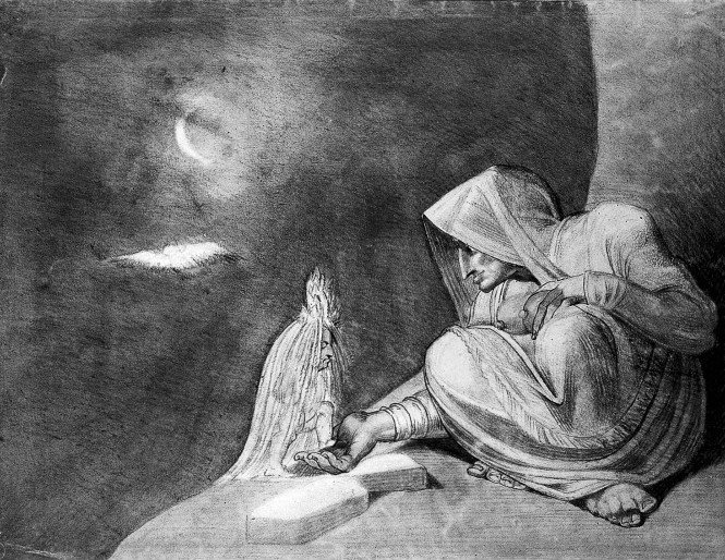A witch in the moonlight, opening her hand to a small creature (a child ?) dressed in a white veil. Drawing after H. Fuseli, 1850/1900. Credit: Wellcome Library, London