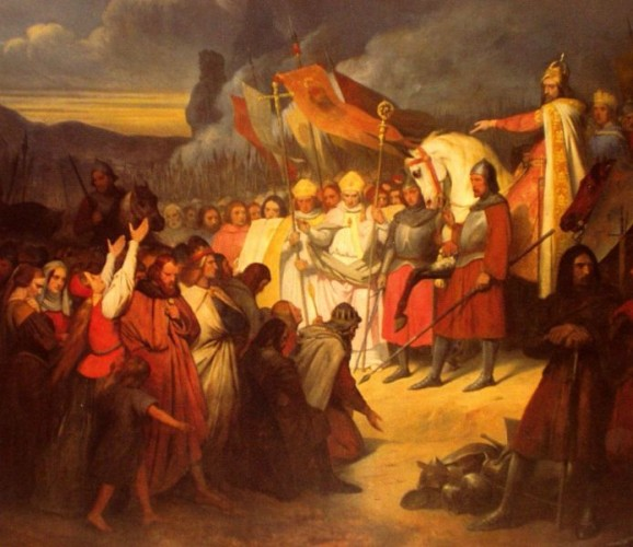 Charlemagne (742–814) receiving the submission of Widukind at Paderborn in 785, by Ary Scheffer (1795–1858).