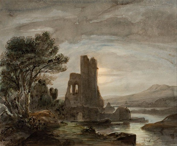 Middle Ages Dark Ages - Night Landscape with Ruined Monastery, by  Lluís Rigalt (1814 - 1894)