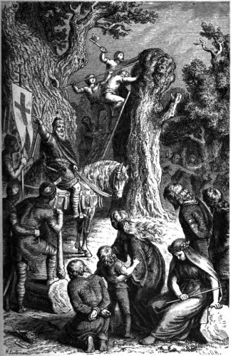 The destruction of the Irminsul by Charlemagne - drawing from 1882
