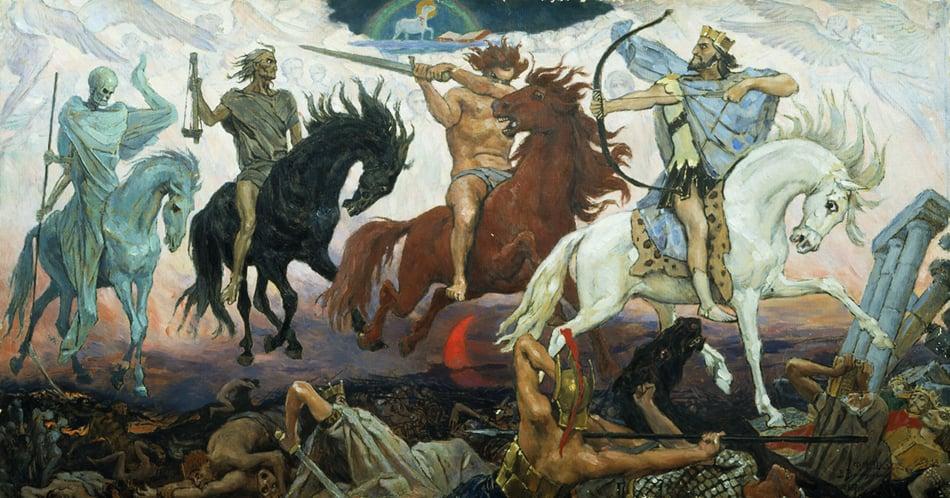 """Four Horsemen of Apocalypse"" (1887) by the Russian artist Viktor Vasnetsov"