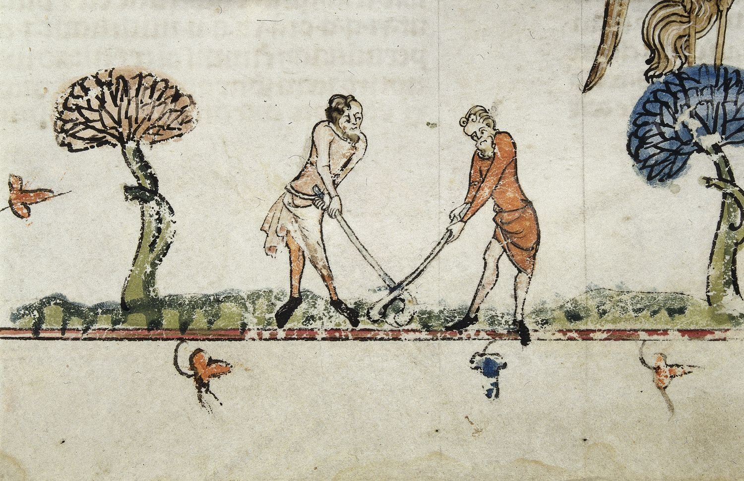 Medieval Sports: scene of two men playing a hockey-type game.  Royal 10 E.IV, f.95 (det)