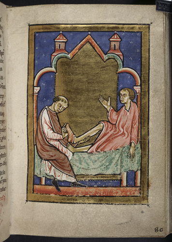 Miniature of a man being healed by shoes belonging to Cuthbert, from Chapter 45 of Bede's prose Life of St Cuthbert. Yates Thompson 26, f.80