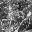 The battle of Badon [Bellum Badonis], in which Arthur carried the Cross of our Lord Jesus Christ for three days and three nights on his shoulders and the Britons were victorious.